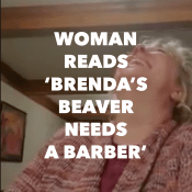 woman laughs reading brenda's beaver needs a barber