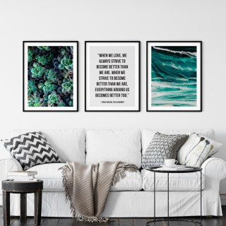paulo coelho quote succulent framed print turquoise waves print
