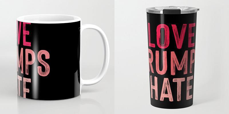 love trumps hate mug travel
