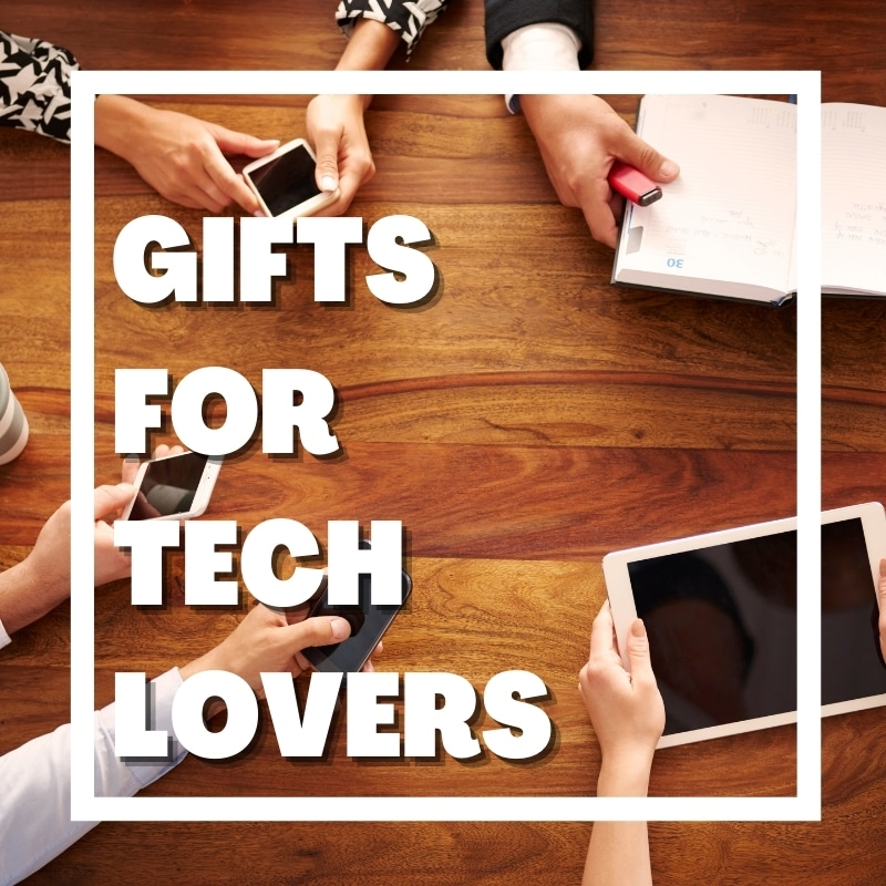 text says gifts for tech lovers - image of hands holding phones and tablets