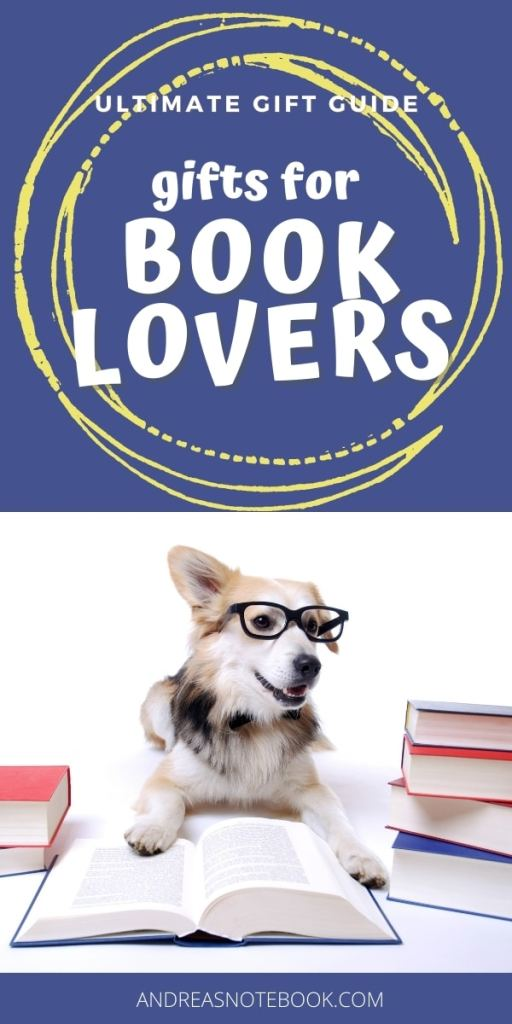 poster: dog reading a book writing says gifts for book lovers
