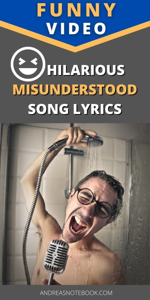 poster - blue and gray background - text says hilarious misunderstood song lyrics- photo of man singing in shower