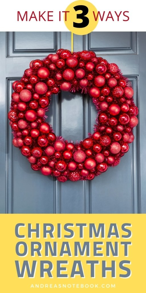 red christmas ornament wreath on blue door