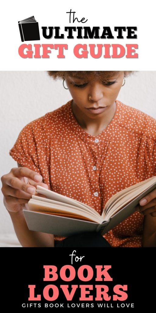 poster: ultimate gift guide for book lovers - black woman in orange shirt reading