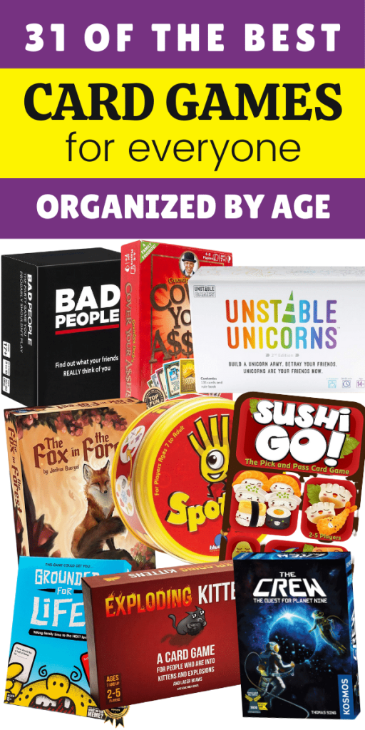 31 of the best card games for families organized by age - photo collage of many card games