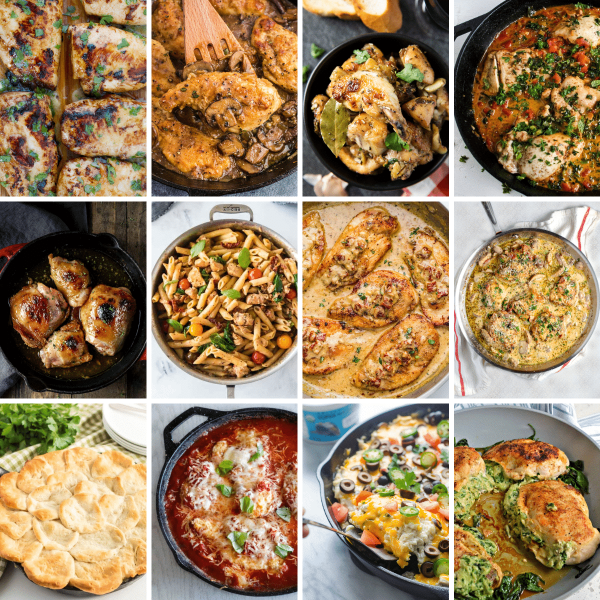 16 image collage of chicken skillet recipes
