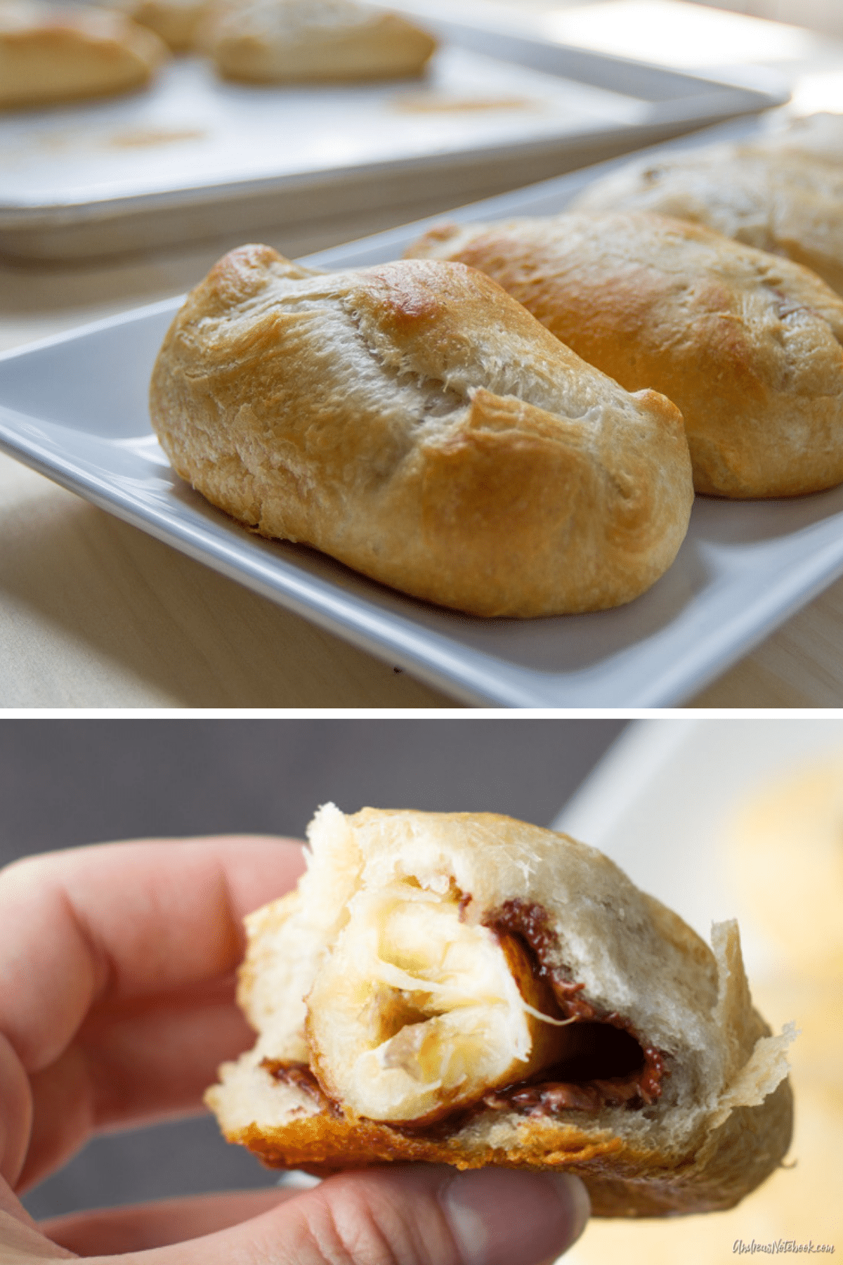 banana nutella roll opened with hands