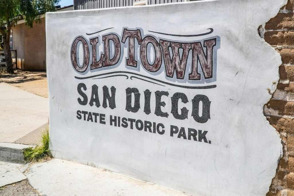 concrete sign - old town san diego state historic park