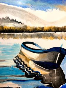 Andreas Rörqvist, Konst, Akrylfärg, USA, Michigan, Norra delarna, Amerika, Roddbåt