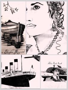 RMS Titanic Kate Winslet First Class Passengers Rosé Art Konst Sketch Svartvit