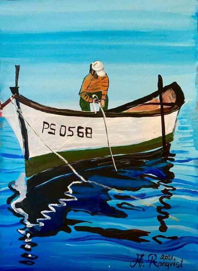 Jigg, Båt, Fiskare, Medelhavet, Andreas Rörqvist, Konst, Akrylfärg, Grekland