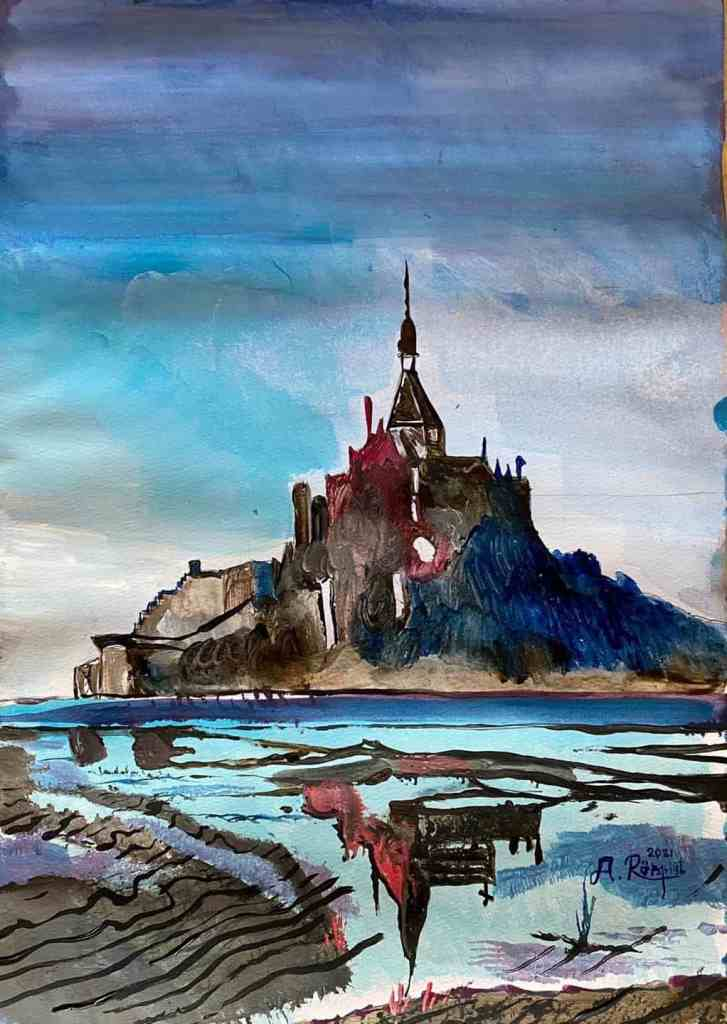 Manche, Normandie, Frankrike, Mont Saint-Michel, Konst, Andreas Rörqvist, Akrylfärg, Landskap, France, Kloster