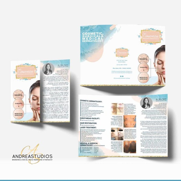 TriFold Brochure Design and Printing for Nouveau Dermatology