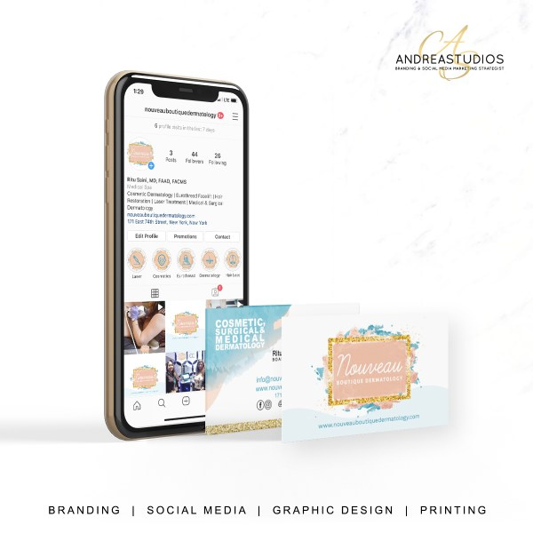 Brand Design & Strategy, Social Media and Marketing for Nouveau Boutique Dermatology