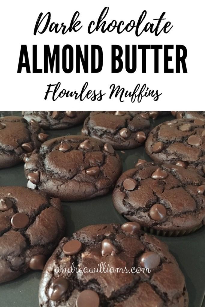 Flourless Double Dark Chocolate Almond Butter Muffins