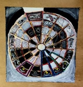 André Clouâtre, Roulette de 16 pointes, décorée, Acrylique sur toile, 10'' x 10'', 2016