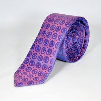 Stylish Purple Silk Tie with Pink Texture