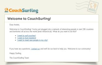 After a short registration process I became the newest member on CouchSurfing