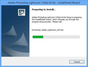 Almost ready! Installing the new Lightroom 5 beta