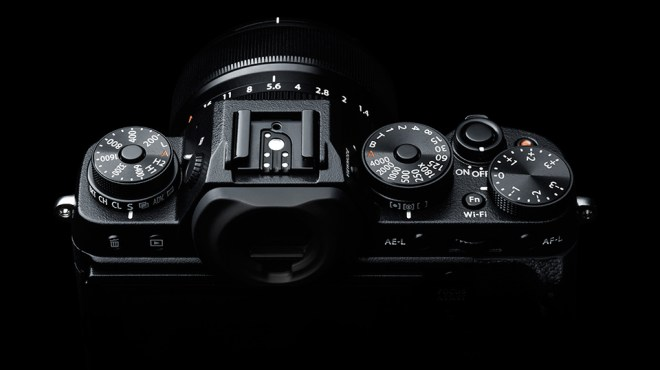 "Fuji X-T1 camera top view with new EVF ""hump"", tilt LCD and ISO dial"