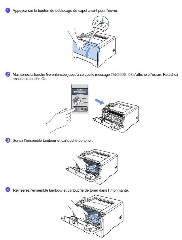 Brother DR-520, Réinitialisation tambour (photoconducteur)