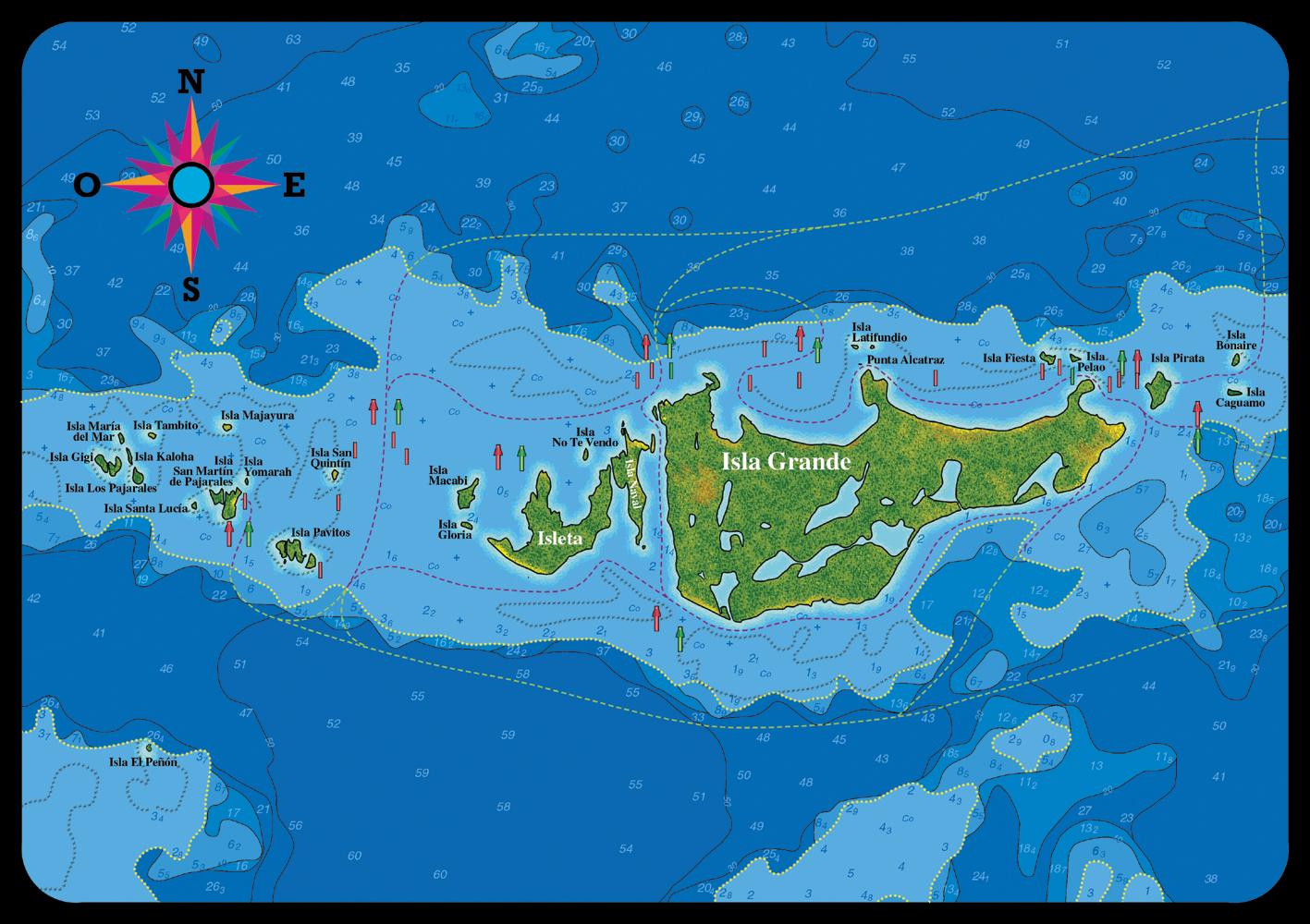 The Isla Grande At The National Park Corales Del Rosario Y San - Cartagena de indias map