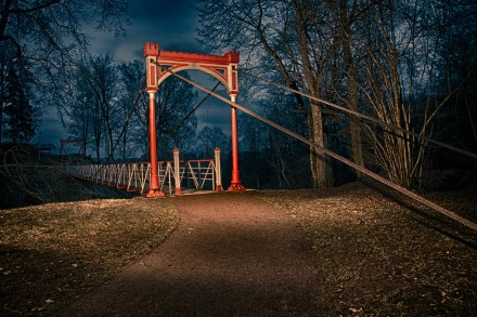 A suspension bridge in Old Castle Ruins located in the town near which I grew up.