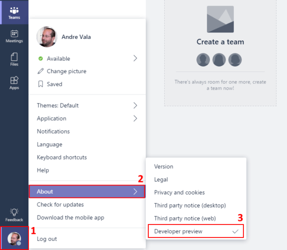 Microsoft Teams: Turn on public preview features