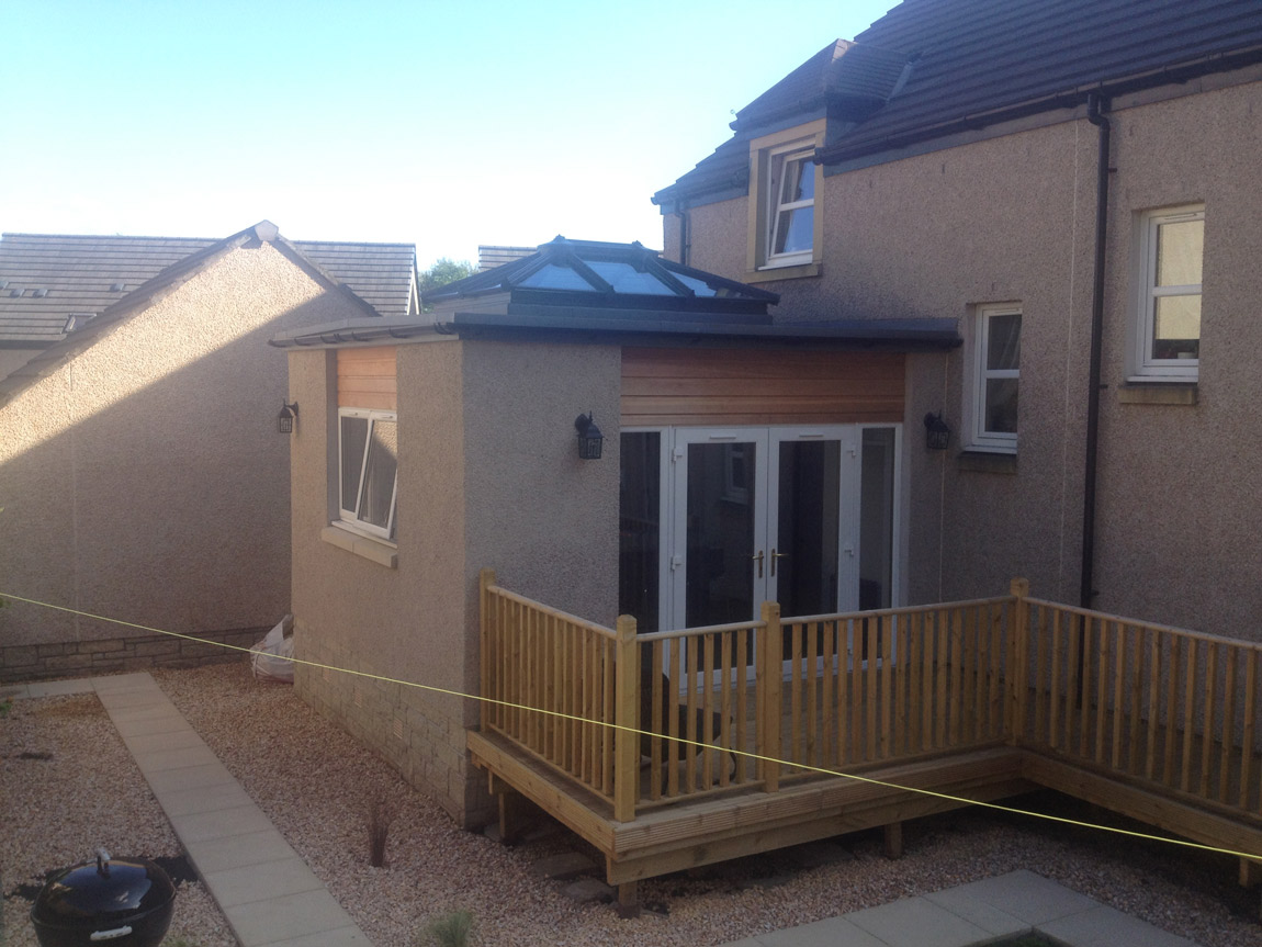 flat roof extension with feature cupola roof system