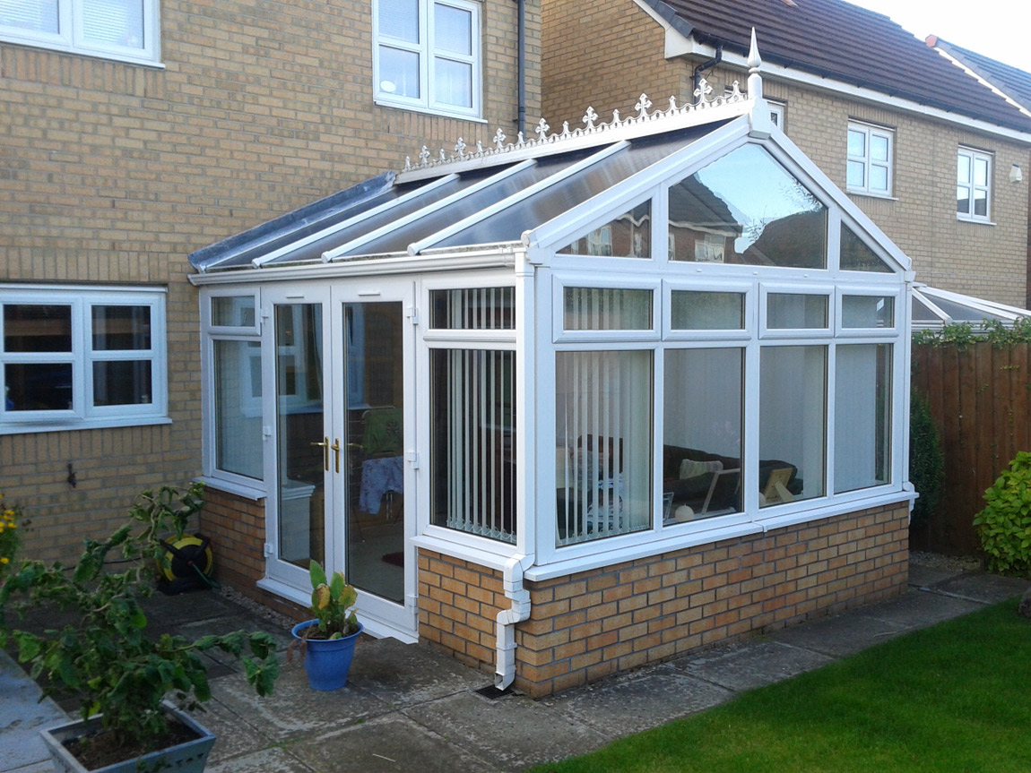 gable front conservatory extension in white pvcu