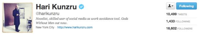 Hari Kunzru on Twitter