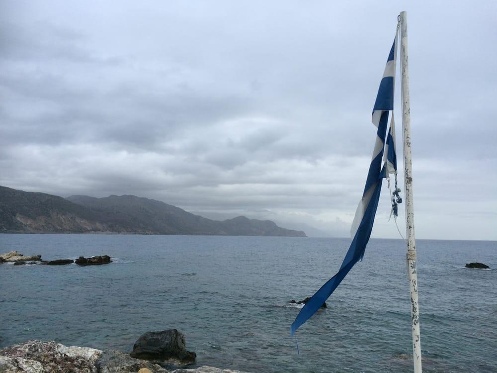 Greece tattered flag