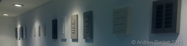 TURN ME ON_Luxury light switches, popular on the continent, displayed at the event today.