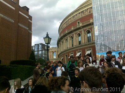 STAR SINGERS_Taplow Youth Choir outside the Royal Albert Hall.
