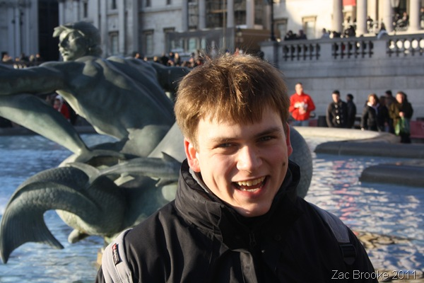 CHEEKY CHAPPY_Smiling for a photograph in Trafalgar Square.