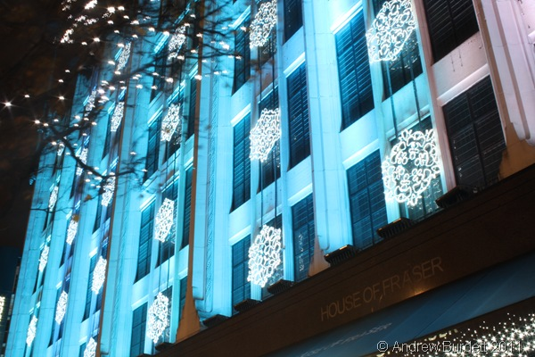 HOUSE OF FRASER LIGHTS_Christmas decorations adorn the House of Fraser department store.
