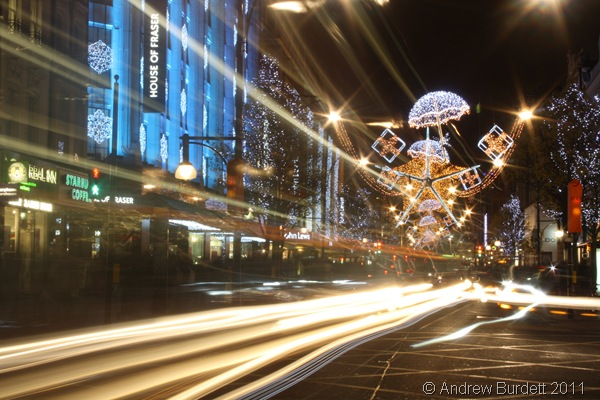 OXFORD STREET LIGHTS_Passing traffic creates these light effects in this long-exposure photograph.