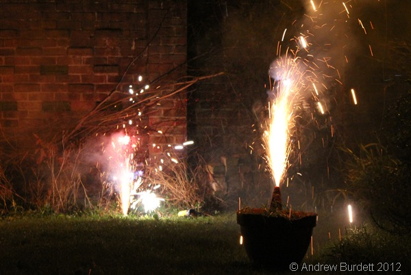 FIZZ AND BANG: Two grounded fireworks at the event this evening. (IMG_1069)