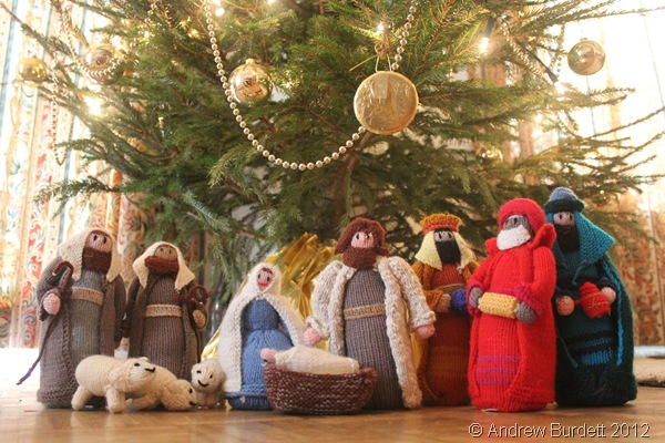 TRUE MEANING: A knitted nativity scene stood at the base of the Christmas tree. (IMG_1429)