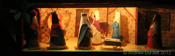ALL TOGETHER NOW: The wise men, Joseph, Mary, and the shepherd at the end of the nativity section. (IMG_1537)