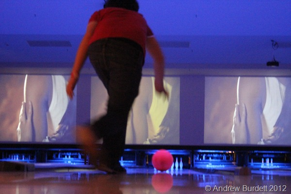 HAVING A BALL: A fellow trip member has a go at bowling. (IMG_7822)