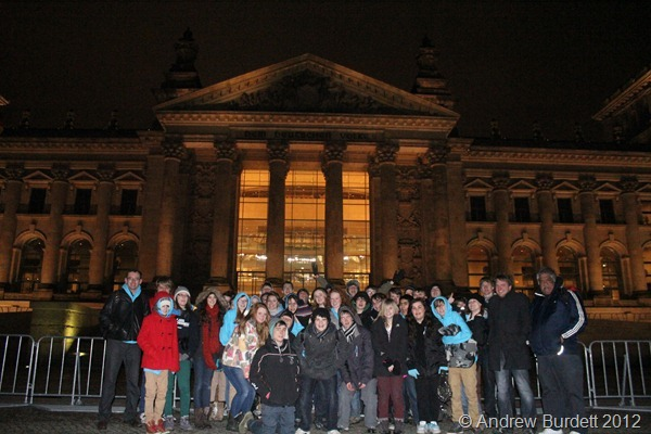 ALL TOGETHER NOW: A group photo under the facade. (IMG_8079)