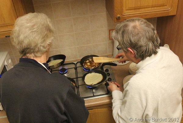 LADIES IN THE KITCHEN: Jean and Sonya preparing pancakes. (IMG_8323)