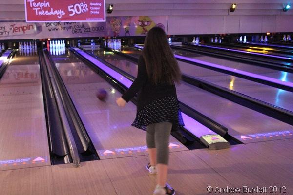 BALLS EYE: A Sparkler has a go at Tenpin Bowling. (IMG_1227)