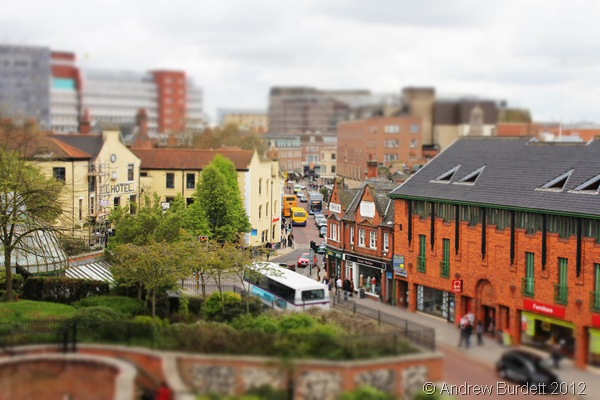 NORWICH IN MINIATURE: A tilt-shift effect on a photo I took of the city. (173_IMG_1905_ARB)