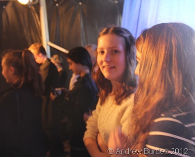 UNSURE WHAT'S COMING: Matilda and Vicky (and Erin behind them) wait for the Headless Lady show to begin. (IMG_2679)