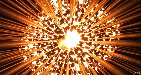 SYMBOL OF PEACE: Like the countries being united at the Olympics, the 204 petals came together to form one flame.