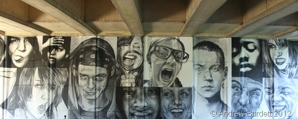 MANY FACES: This mural, under the A443 road bridge by Windsor Leisure Centre, was completed only yesterday. (IMG_9530)