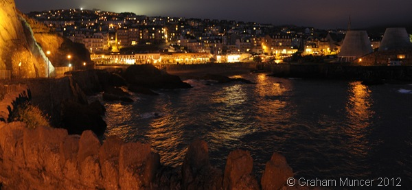 """TOWN ON THE SEA: Looking at the harbour, with """"Madonna's Bra"""" to the right. (0386_20120807_DSC3224_GrahamMuncer)"""