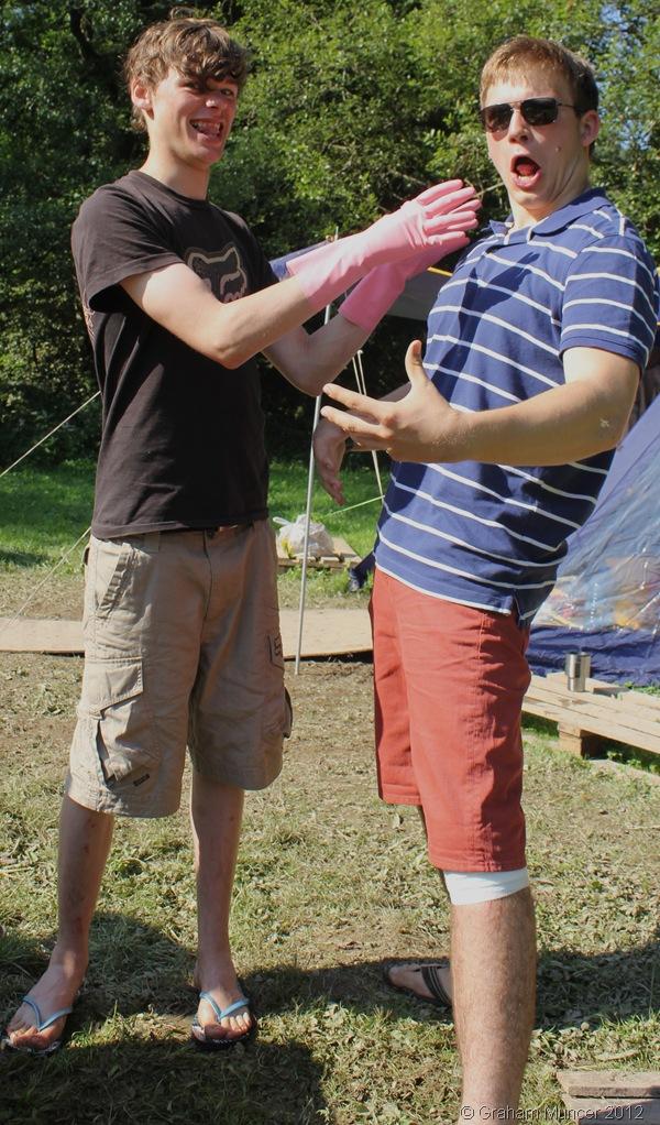 MURDEROUS WASHING UP: Josh and I had fun while helping wash the pancake mixture pan up. (1355_IMG_0920_GrahamMuncer)